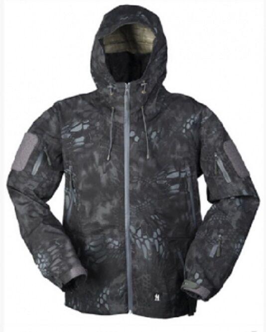 Hardshell windblocker Softshell chaqueta Snake camo mandra Night camuflaje Xlarge