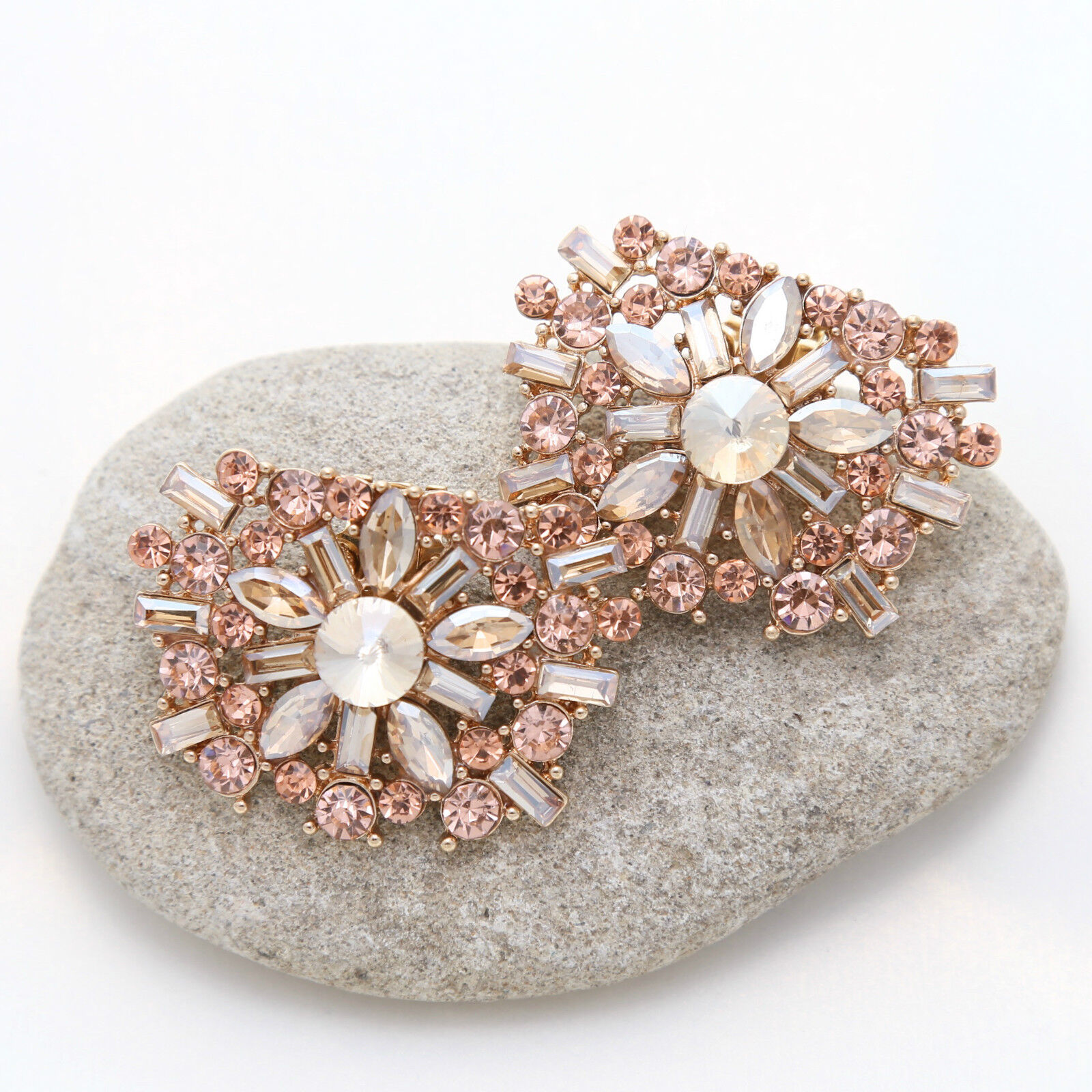 Wedding Shoes Gold Tone Diamante Rose Gold Crystal Shoe Clips Accessories