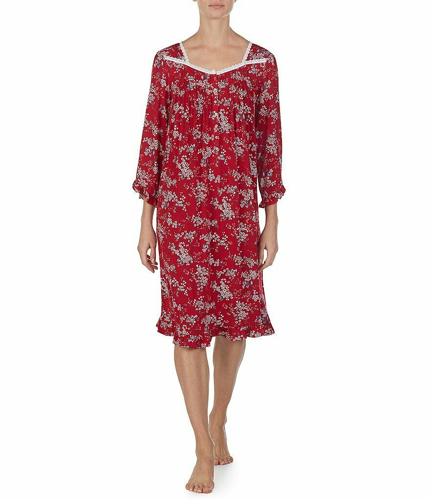 New Eileen West Knit Long Sleeve Gown nightgown sleep Red 3X