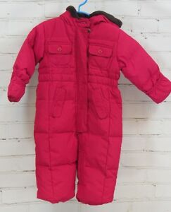 014e8d85d4f0 BABY GAP Baby Girl s Pink Down Snowsuit Fleece Lining   Hood Sz 12 ...