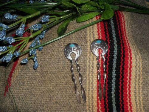 Vintage 2pcs Sterling Silver Hopi overlay Hairpin… - image 1