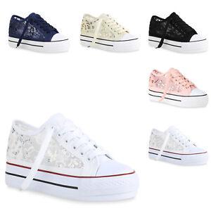 Damen Plateau Sneaker Spitzenstoff Hidden Wegdes Keilabsatz Schuhe 821436 Trendy