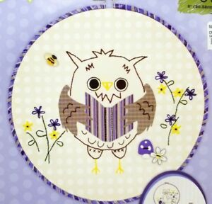 Beginner-Stamped-Embroidery-Applique-Forest-Owl-Kit-Hoop-Included-New