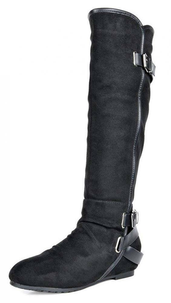 DREAM PAIRS Women's New Akris Black Hidden Wedge Knee High Boots Size 9.5...