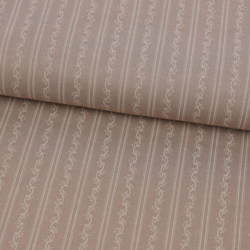 Trajes de tela de algodón zarcillos flores rayan claro marrón blanco 1.50m de ancho