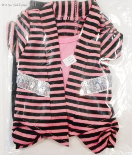 """1 PINK /& BLACK OUTFIT w//Sequins AM GIRL NEW Fits 18/"""" tall GIRL dolls HANNAH"""