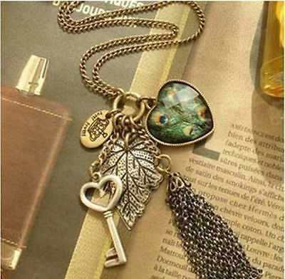 Fashion peafowl necklace charm Heart love key leaf crown tassels findings