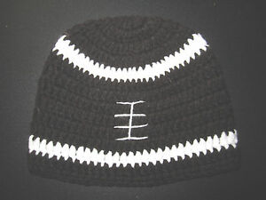 HANDMADE-CROCHET-KNIT-HATS-FOR-BABIES-amp-KIDS-BROWN-FOOTBALL-BEANIE-SZ-0-5-YEARS