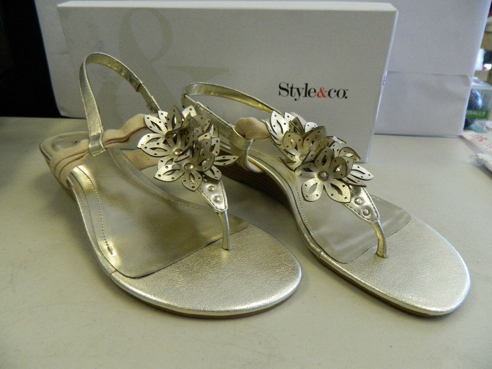 Style & Co New Womens Blaney gold Wedge Sandals 7.5 M shoes