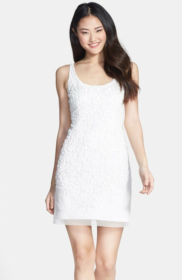 ADRIANNA PAPELL EMBELLISHED MESH WHITE TANK DRESS sz 4
