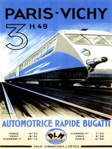 TRAVEL TRANSPORT PARIS VICHY TRAIN RAIL SPEED MODERN FAST FRANCE POSTER LV4420