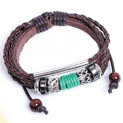 Leather Bracelet Unisex Steampunk Surfer Tribal Goth Friendship Celebrity LB23