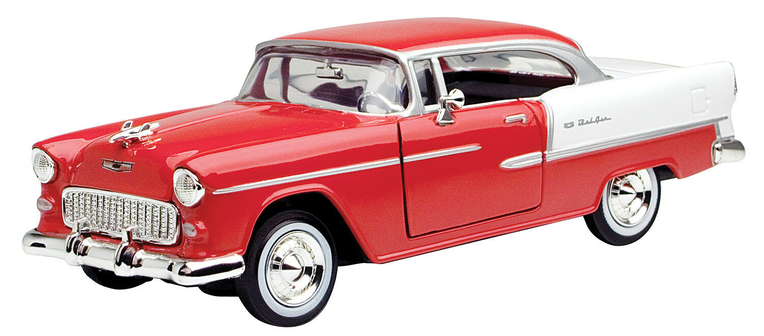 Motormax - 1955 Chevy Bel Air Red Red Red Premium Die Cast 1 24 - 73229AC 26282e