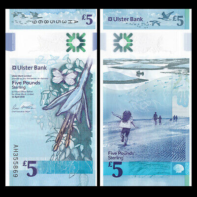 P-New 2019 2018 UNC Ireland Northern Ulster Bank 5 pounds Polymer