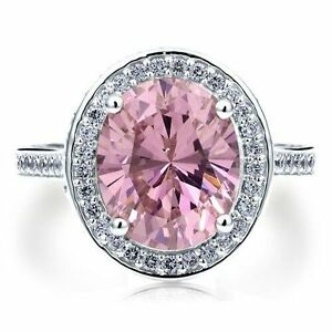 Sterling-Silver-Pink-Halo-Ring-Size-8