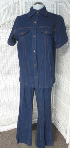 70's Vtg Denim Flare Jeans & Shirt Jacket Set Youn