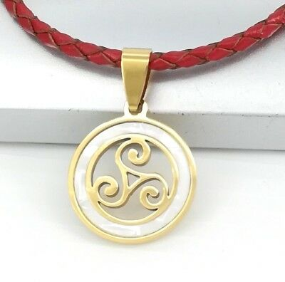Silver Triskele Spiral Irish Celtic Pendant Red Braided Leather Choker Necklace