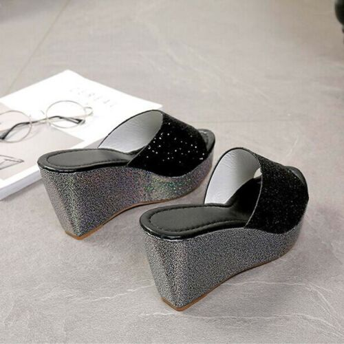 Women/'s Bling Leather Sandals Lady Platform Wedge Heels Peep Toe Slippers Shoes