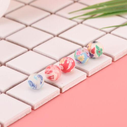 Mischblumen Polymer Clay Weiche Keramik Runde Diy Erkenntnisse Lose Perlen WH