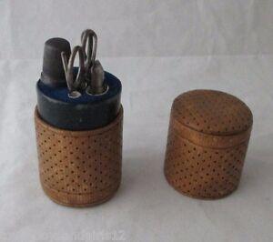 5pc-Leather-ETUI-LADIES-SEWING-COMPANION-Antique-c1880-Original-tools