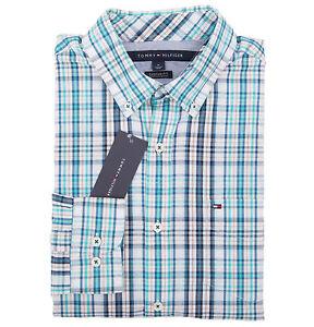 Tommy-Hilfiger-Men-039-s-Long-Sleeve-Custom-Fit-Plaid-Casual-Shirt-0-Free-Ship