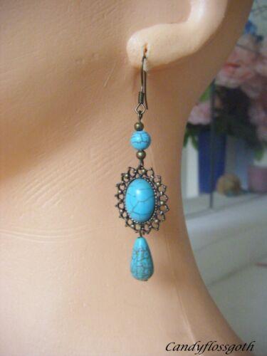 Turquoise stone Cameo earrings bronze cameo earring and ear hooks.