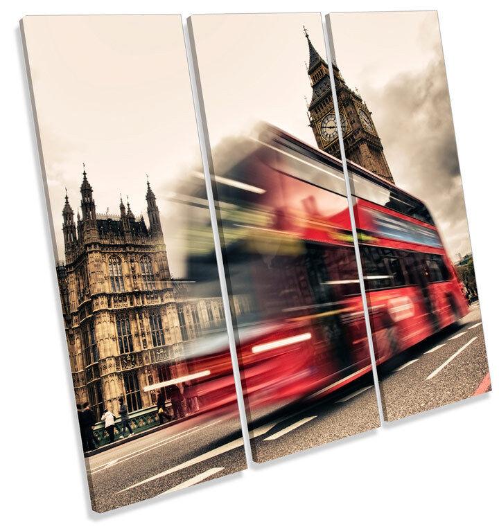 Big Ben London City Bus TREBLE CANVAS WALL ART Square Print Picture