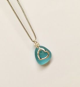 Blue sea glass necklace with heart charm beach glass pendant jewelry image is loading blue sea glass necklace with heart charm beach aloadofball Image collections