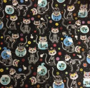 """Timeless Treasures Day Of The Dead Pups Dogs Fabric Sold by HALF METRE W44/"""""""