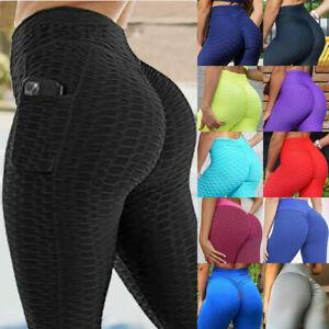 Women Anti-Cellulite Yoga Pants Pocket Ruched Butt Lift Leggings Gym Trousers M1