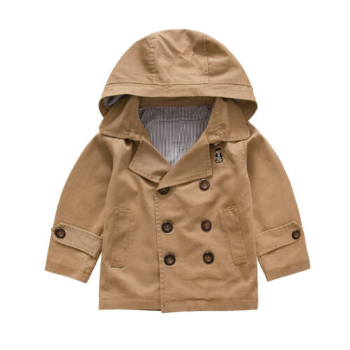 Niño niño Gabardina Viento Abrigo Doble Abotonadura cremallera chaqueta tamaño 1-6 Años