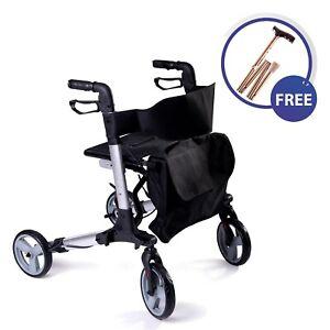 SpeedCare-folding-lightweight-4-wheel-rollator-walker-with-seat-and-Crutch