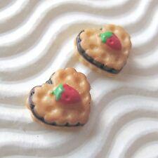 "30 x 3/8"" Strawberry Cake/Biscuit in Heart Shape Resin Flatback/Miniature SB559"