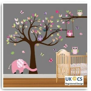 Forest-Tree-Flower-Butterfly-Owl-Elephant-Nursery-Baby-Room-Kid-wall-sticker