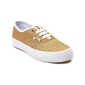 e1575f0ea3 NEW Youth Tween Vans Authentic Glitter Skate Shoe GOLD Girls Kids ...