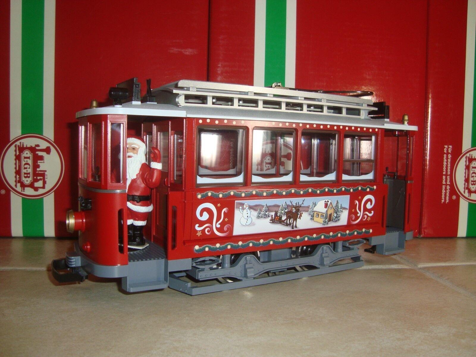 LGB 72351 rosso CHRISTMAS TROLLEY STREET CAR WITH SANTA BRAND NEW NO BOX