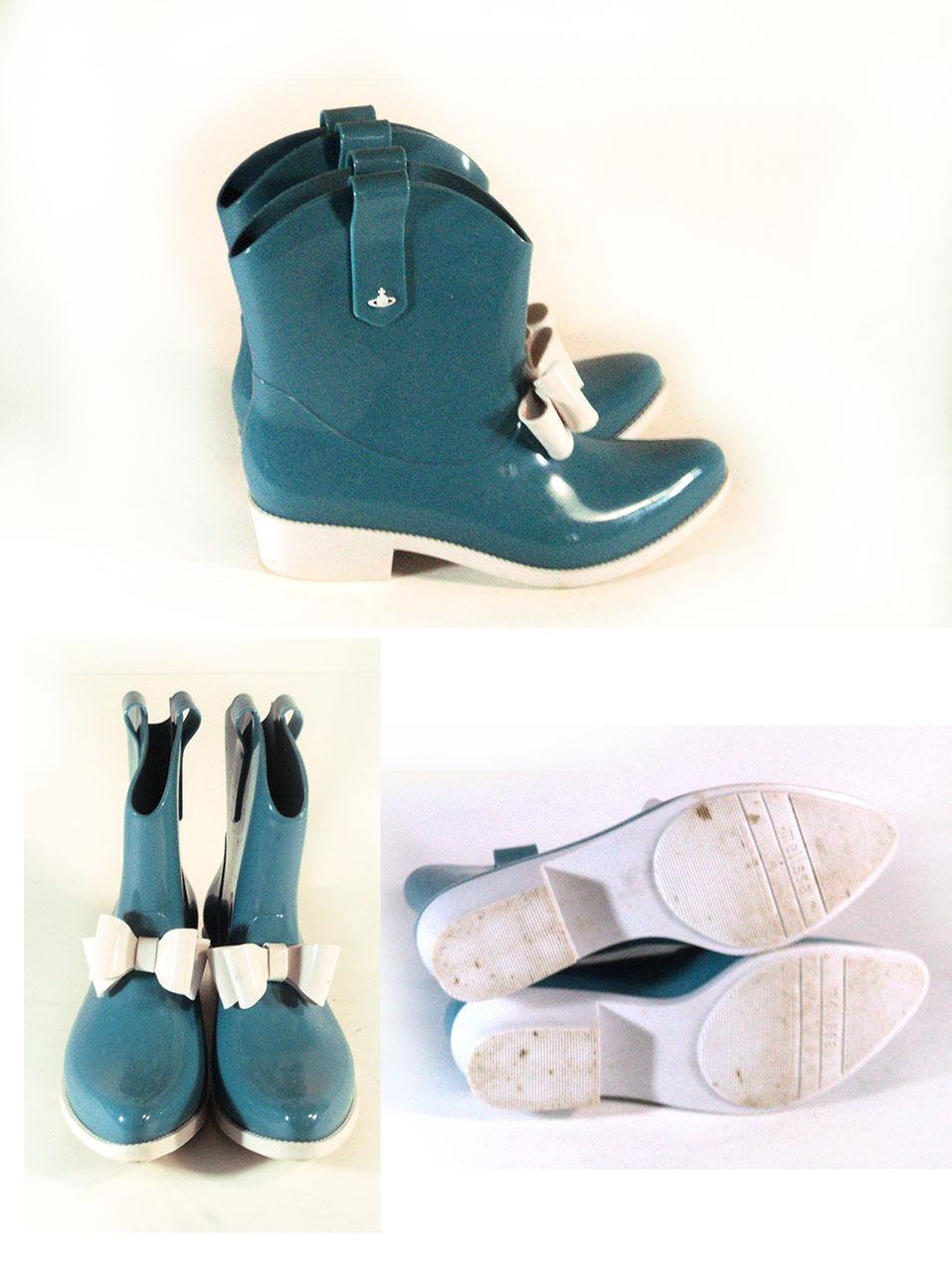 Melissa Shoes Boots Vivienne Westwood Protection Blue Boots Shoes 5/38 4188ee