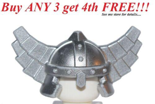 ☀️NEW Lego Minifig Hat Kingdoms Metallic Silver HELMET w// Wings Castle Knight