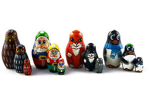 Matryoshka Animals Bear Moose Wolf Toys Russian Nesting Doll Babushka Set 7 Pс