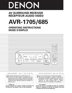 denon avr 1705 receiver amplifier owners manual ebay rh ebay com amplificador denon avr 1705 manual denon avr 1705 manual pdf