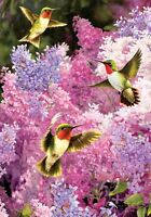 Pink Lilac Hummingbird Garden Flag 18 X 12