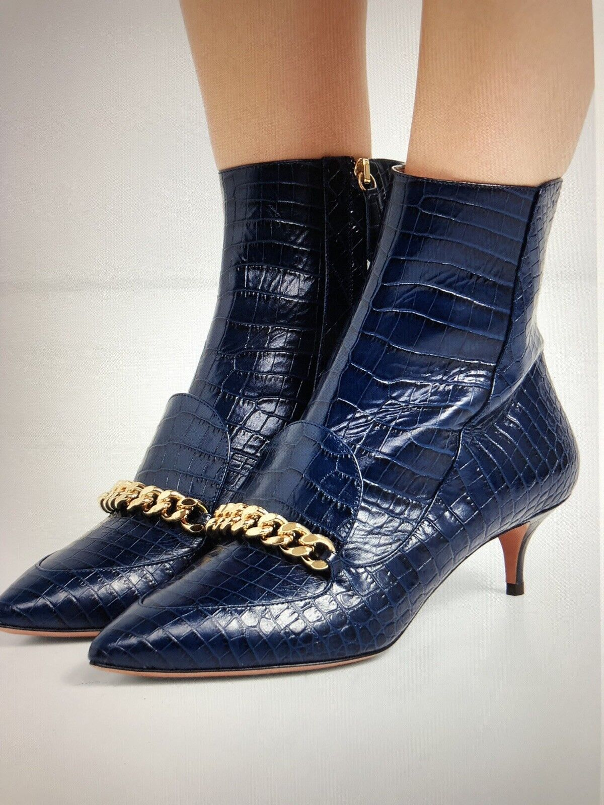 New ASOS Navy Navy Navy Croco Effect bottes Taille 10 f0676d