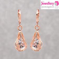 Item 1 Rose Gold Plated Crystal Twisted Peardrop Dangle Drop Earrings Womens Las