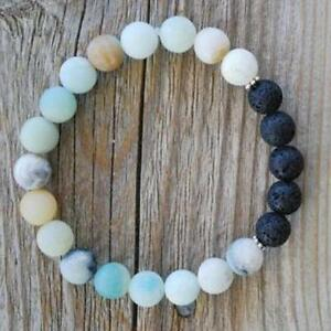 8MM-Amazonite-beads-lava-bracelet-Unisex-Tibet-silver-Healing-energy-Chakas