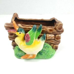 Vintage-1950s-Ceramic-Duck-Planter-Vase-Pen-and-Stuff-Holder-Japan-Mid-Century