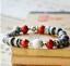 Ceramic-Bead-Silver-Leaf-Charm-Elastic-Bracelet thumbnail 3