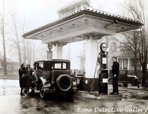 Esso Pump Filling up at Standard Oil Co Vintage Photo Print Gas Station w