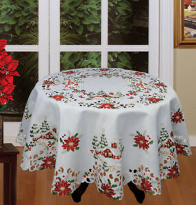 Holiday-Christmas-Tree-Red-Poinsettia-Snowy-Cabin-Tablecloth-amp-Napkins-White
