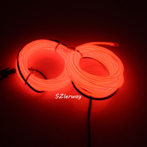 16ft Red Led EL Wire 12v Tube Neon Glow Rope Garden Party Car Decoration Lights