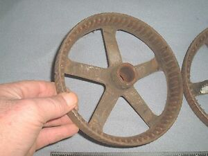 2 vtg antique wheels reel type push mower / repurpose craft steampunk lamp base